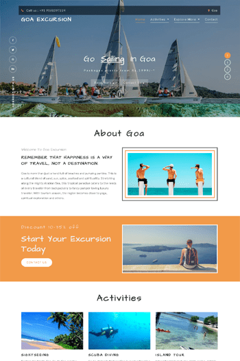 Website designing for Goa Excursion