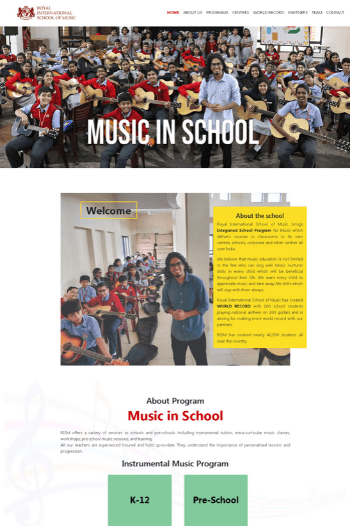 Best website designs for Music schools